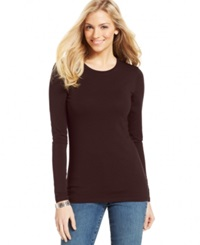 Style And Co. Basic Long Sleeve Tee Espresso Bean
