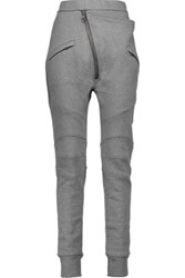 Balmain Pierre Asymmetric Cotton Blend Jersey Track Pants Gray
