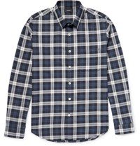 Theory Rammy Plaid Herringbone Cotton Shirt Navy
