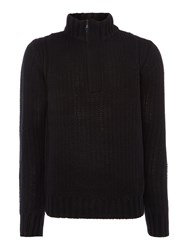 Duck And Cover Men's Lyon Quarter Zip Textured Jumper Black