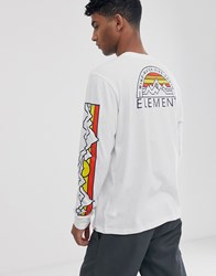 Element Odyssey Long Sleeve Top With Sleeve Print In White