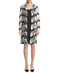 Albert Nipon Sleeveless Dress W Two Tone Floral Lace Jacket Set Porcelain Black
