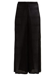 Missoni Mare Zigzag Crochet Knit Wide Leg Trousers Black