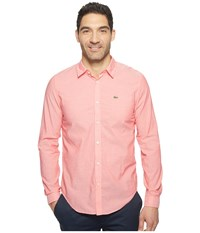 Lacoste Long Sleeve Cotton Voile Slim Fit Sirop Pink White Men's Clothing