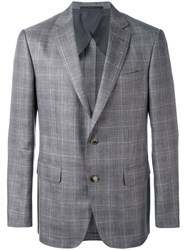 Pal Zileri Plaid Blazer Men Silk Linen Flax Cupro Wool 50 Grey