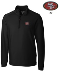 Cutter And Buck Men's San Francisco 49Ers 3D Emblem Jackson Overknit Quarter Zip Pullover Black
