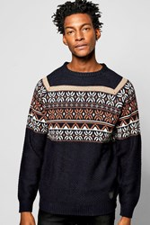 Boohoo Fairisle Christmas Crew Neck Jumper Navy