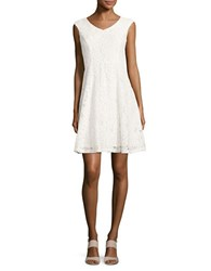 Ellen Tracy Lace Fit And Flare Dress White