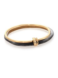 Alexis Bittar Sport Deco Lucite And Liquid Metal Ringed Bangle Bracelet Set Black Gold Black