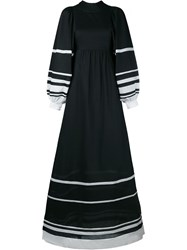 Vika Gazinskaya Stripe Cotton Maxi Dress Black