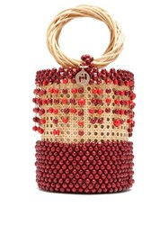 Rosantica By Michela Panero Cora Beaded Wicker Bucket Bag Burgundy Multi