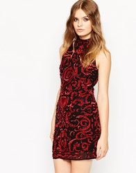 Asos Premium Embellished High Neck Mini Tank Dress Red