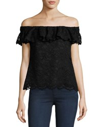 Rebecca Taylor Off The Shoulder Floral Lace Top Black