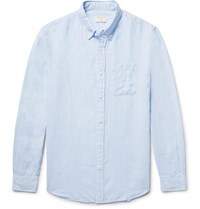 Club Monaco Slim Fit Button Down Collar Linen Shirt Light Blue