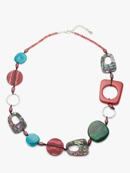 One Button Abstract Beaded Necklace Wine Green