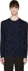 Marc By Marc Jacobs Indigo And Black Floral Sweater