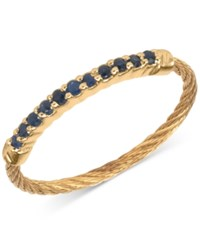 Charriol Women's Laetitia Blue Sapphire Accent Gold Tone Pvd Stainless Steel Cable Ring Yellow Gold