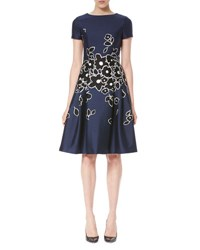Carolina Herrera Short Sleeve Floral Embroidered Dress Dark Navy Black Dark Navy Black W