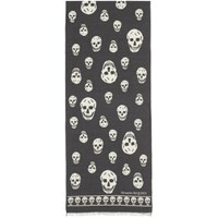 Alexander Mcqueen Black And Ivory Wool Skull Scarf