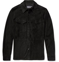 Ralph Lauren Purple Label Barron Suede Shirt Jacket Black