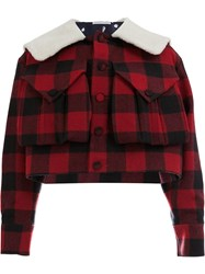 Charles Jeffrey Loverboy Oversized Collar Checked Jacket Red