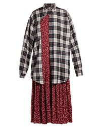Balenciaga Layered Cotton Shirtdress Burgundy Multi