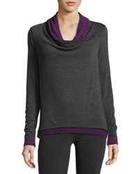 Three Dots Contrast Trim Cowl Pullover Sweater Gray Purple