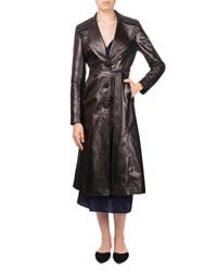 Magda Butrym Indiana Button Front Belted Leather Trench Coat Black