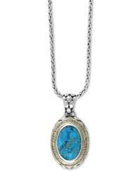 Effy Collection Turquesa By Effy Manufactured Turquoise 8 9 10 Ct. T.W. And White Sapphire 5 8 Ct. T.W. Pendant Necklace In Sterling Silver And 18K Gold Blue