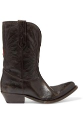 Golden Goose Wish Star Low Embroidered Distressed Leather Boots Brown