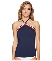 Tommy Hilfiger Signature Stripe Mitered Elastic Tankini Top W Removable Soft Cups Core Navy Women's Swimwear