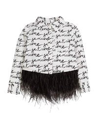 Milly Minis Je T'aime Ostrich Feather Button Up Blouse White