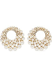 Jennifer Behr Paola Gold Tone Faux Pearl Clip Earrings White
