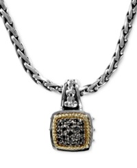 Effy Collection Balissima By Effy Black Diamond Square Pendant 1 5 Ct. T.W. In 18K Gold And Sterling Silver
