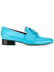 Dorateymur Square Toe Loafers Women Leather Patent Leather 41 Blue