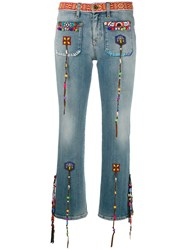 Roberto Cavalli Beaded Fringes Cropped Jeans Blue
