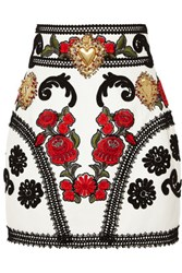Dolce And Gabbana Embellished Embroidered Leather Mini Skirt White