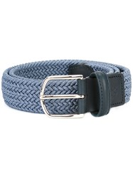 Canali Braided Elastic Belt Blue