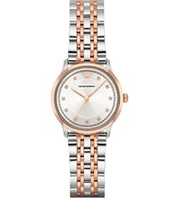 Emporio Armani Ar1962 Rose Gold Plated Stainless Steel Watch Silver
