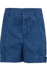 Marc By Marc Jacobs Pleated Cotton Blend Twill Shorts Blue