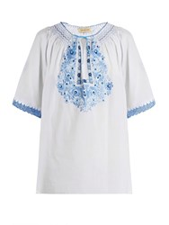 Muzungu Sisters Eva Embroidered Cotton Top Blue White