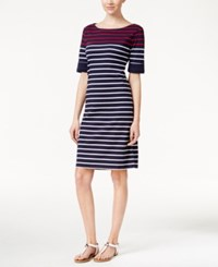 Karen Scott Striped T Shirt Dress Only At Macy's Intrepid Blue Red