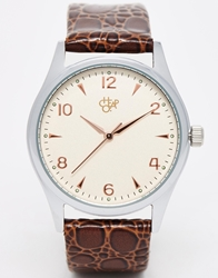 Cheapo Map Print Leather Strap Watch Brown