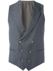 Caruso Double Breasted Plaid Waistcoat Grey