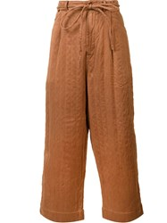 Craig Green Wide Legged Drawstring Trousers Brown