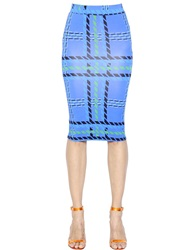 House Of Holland Plaid Print Viscose Jersey Pencil Skirt Blue