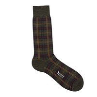 Aquascutum London Greenwich Tartan Check Merino Blend Socks Dark Olive