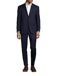 Corneliani Pinstripe Regular Fit Virgin Wool And Cashmere Blend Suit Navy