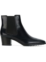 Tod's Brogue Detailing Ankle Boots Blue