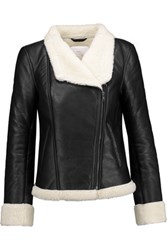 W118 By Walter Baker Faux Shearling Lined Leather Biker Jacket Black